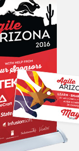 Agile Arizona Conference - Retractable banners and various other banners, promotional cards and schedule/map signs
